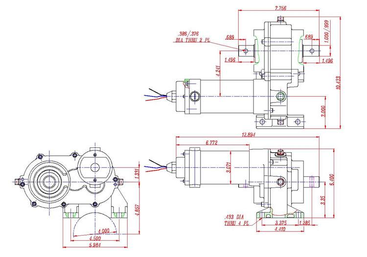 Мікразваротны рухавік і рэдуктар з цэнтральным прывадам